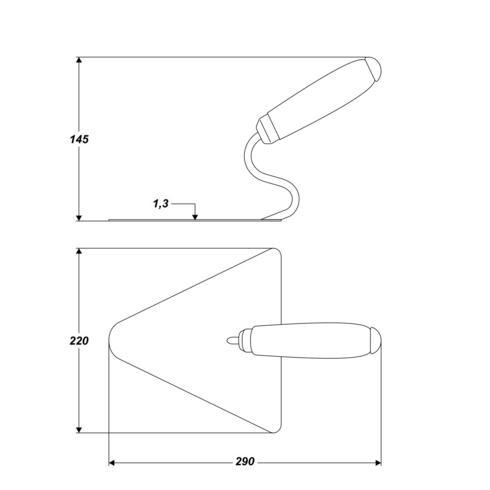 Dreieckige Putzspachtel 220 x 215 mm rostfreie Edelstahl 1,3 mm