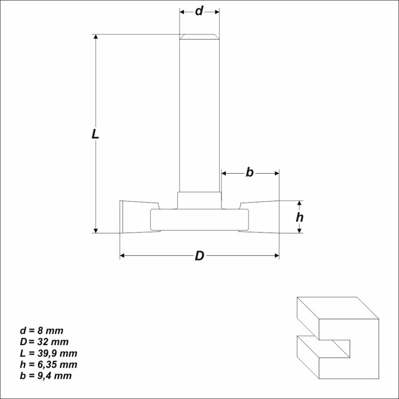 zweischneidig Fräsbreite 6,35 mm Scheibennutenfräser HM Fräser Schaft 8 mm